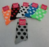 96 Units of SINGLE PAIR CREW SOCKS 9-11 [POLKA DOTS]