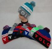 24 Units of KNIT HAT WITH POMPOM [YOLO]