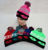 24 Units of KNIT HAT WITH POMPOM [SEXY]