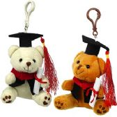 36 Units of PLUSH GRADUATION TEDDY ZIPPER PULL KEYCHAINS - Graduation