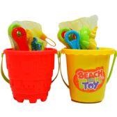 "48 Units of 5.5"" BEACH TOY BUCKET W/ ACCSS IN NET BAG, 2 ASSRT - Summer Toys"