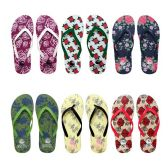 96 Units of Womens Flip Flops Assorted Rose Patterns