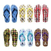96 Units of Womens Flip Flops Assorted Emojis