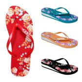 48 Units of Women's EVA Slippers/Roses Assorted Color - Women's Flip Flops