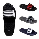 48 Units of Men's Massage Slides Striped Velcro Assorted Colors