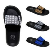 48 Units of Mens Velcro Slides Diamonds Assorted Colors