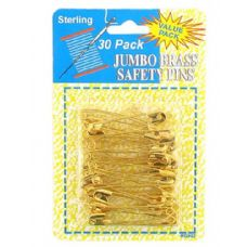 72 Units of Jumbo brass safety pins - SAFETY PINS