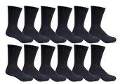 6 Pairs of Men's excell Diabetic Crew Socks, Ringspun Cotton, Neuropathy Edema Socks (Black) - Men's Diabetic Socks