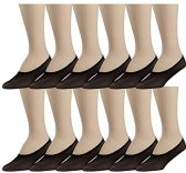 12 Pairs of No Show Foot Liner Socks for Women, Sheer Microfiber Hidden Sock (Black) - Womens Ankle Sock