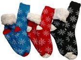 3 Pairs of Sherpa Fleece Lined Slipper Socks, Gripper Bottoms, Best Warm Winter Gift (Snowflakes Prints)