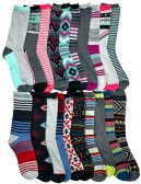 WSD Womens Value Pack Printed Crew Socks Many Colors, Soft Touch Fun Prints (20 Pairs Assorted Aztec) - Womens Crew Sock