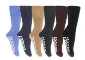 6 Pairs of excell Men's Slipper Socks, non-skid gripper bottom