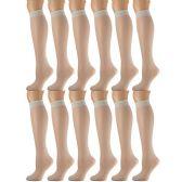 12 Pairs of excell Trouser Socks for Women, 20 Denier Knee High Dress Socks (Puff Smoke) - Womens Dress Socks