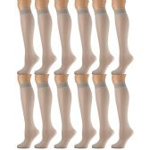 12 Pairs of excell Trouser Socks for Women, 60 Denier Opaque Knee High Dress Socks (Taupe)