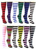 24 Pairs Pack of WSD Women's Knee High Socks, Value Pack, Novelty Socks (Striped Print, 9-11)