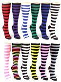 24 Pairs Pack of WSD Women's Knee High Socks, Value Pack, Novelty Socks (Striped Print, 9-11) - Womens Knee Highs