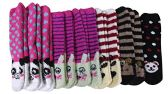 12 Pairs of Women's Striped Animal Fuzzy Socks, Size 9-11