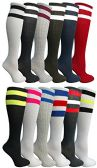 12 Pairs of Womens Referee Knee High Socks, Neon Striped Colorful Cheerleader Sock, by WSD (12 Pairs Assorted A)