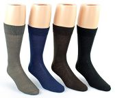 24 Pairs Pack of WSD Men's Classic Crew Dress Socks (Assorted Colors, Size 10-13) - Mens Dress Sock