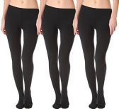 3 Pack Of Womens Mod & Tone Fleece Lined Brushed Footed Tights for Winter (3 Pairs Black, Med/Large) - Womens Tights