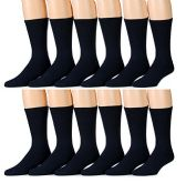 12 Pairs of excell Womens Diabetic Crew Socks Ringspun Cotton For Neuropathy Edema (Navy)