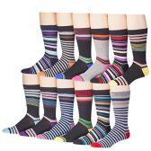 Men's Pattern Dress Socks Cotton Blend Colorful 12 Designes Size 10-13 (12 Pair) 2800