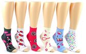 24 Pairs Pack of WSD Women's Pedicure Socks, Value Pack, Open Toe Socks (Assorted Prints, 9-11)