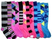 12 Pairs of mod & tone Women's Argyle Striped Knee High Socks, #418
