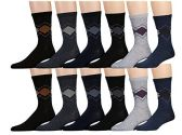12 Pairs of excell Mens Dress Socks, Patterned Stylish Cotton Blend (Pack A) - Mens Dress Sock