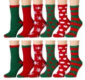 12 Pairs of excell Women's Christmas Holiday Striped Fuzzy Socks, # 24209,Assorted colors, 9-11 - Womens Fuzzy Socks