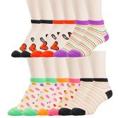 12 Pairs of excell Womens Mesh Fashion Ankle Socks, size 9-11 (Assorted Prints B)