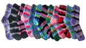 excell Womens Fuzzy Socks Crew Socks, Warm Butter Soft (Striped D) - Womens Fuzzy Socks