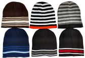 6 Pack Of excell Mens Thermal Sport Striped Winter Beanie Hat