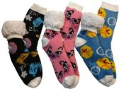 3 Pairs of Sherpa Fleece Lined Slipper Socks, Gripper Bottoms, Best Warm Winter Gift (Cats and Birds)