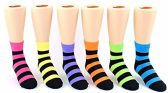24 Pairs Pack of WSD Toddler's Crew Socks, Value Pack, Novelty Socks (Neon & Black Stripes, 2-4) - Girls Ankle Sock