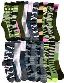 WSD Womens Value Pack Printed Crew Socks Many Colors, Soft Touch Fun Prints (20 Pairs Assorted Camo)