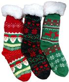 Christmas Printed Socks, Fun Colorful Festive, Crew, Knee High, Fuzzy, Or Slipper Sock by WSD (3 Pairs Sherpa Lined Slipper Socks) - Womens Sherpa Socks