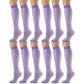 12 Pairs of excell Trouser Socks for Women, 20 Denier Knee High Dress Socks (Purple) - Womens Dress Socks