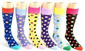 24 Pairs Pack of WSD Men's Casual Crew Dress Socks (Dot Print, Size 10-13)