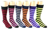 24 Pairs Pack of WSD Men's Casual Crew Dress Socks (Striped Print, Size 10-13)