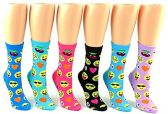 24 Pairs Pack of WSD Women's Novelty Crew Socks, Value Pack, Fun Socks (Emoji Prints, 9-11)