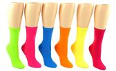 24 Pairs Pack of WSD Women's Novelty Crew Socks, Value Pack, Fun Socks (Solid Neon Colors, 9-11)