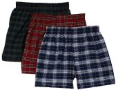 excell Men's 3-Pack Assorted Plaids Woven Boxer Shorts Underwear (Large) - Mens Underwear