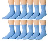 12 Pairs Unisex White Diabetic Socks for Neuropathy, Edema, Circulation, Comfort, by excell (10-13, Blue)