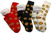 3 Pairs of Sherpa Fleece Lined Slipper Socks, Gripper Bottoms, Best Warm Winter Gift (Smile Prints)