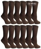12 Pairs of WSD Womens Cotton Crew Socks, Solid, Ladies Athletic (Brown)