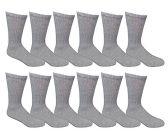 12 Pair of Excell Diabetic Socks, Neuropathy Socks, Colored Diabetic Socks (10-13, Gray)