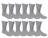 12 Pair of Excell Mens Athletic Sports Quality Crew Socks Ringspun Cotton (Gray) - Mens Crew Socks