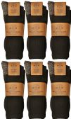 6 Pairs of Men's Heavy Duty Steel Toe Work Socks, Black, Sock Size 10-13
