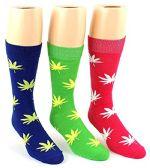 24 Pairs Pack of WSD Men's Casual Crew Dress Socks (Marijuana Leaf Print, Size 10-13)